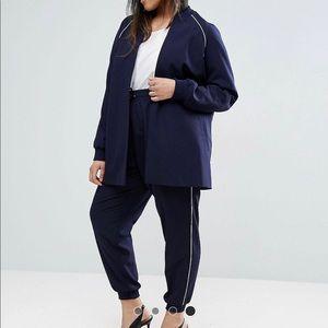 ASOS CURVE navy city chic track suit set